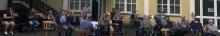 Blechbläser der Winzerkapelle Kröv bei einer ersten Registerprobe nach Lockdown im Juni 2021